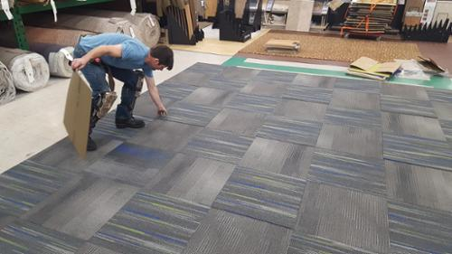 Carpet tile is a great way to complete a basement, split level or raised ranch