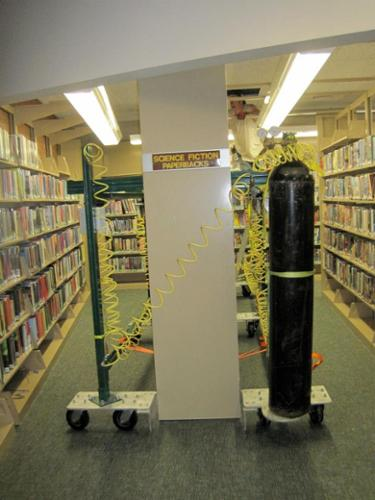 Compressed Air Lift System allowed us to install new flooring under this library's racks without any books having to be removed. The air system eliminates the risks that come with hydraulic fluids in other types of lift systems.